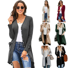 Thin section long trench coat women autumn and winter new long sleeve casual jacket black XL