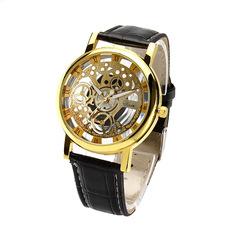 Luminous Men Watch Luxury business Male Quartz WristWatch Leisure Leather Clock Valentines Gift Gold dial