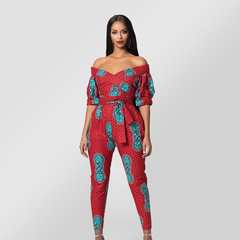 Hello Miss Printed Sexy Lantern Sleeves Shoulder-open Collar Pants red s
