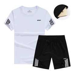 2019 new T-shirt set 2 casual short-sleeved fashion printed cotton t-shirts and shorts for men white m