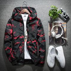 2019 new men's jacket men's fashion casual camouflage jacket hooded jacket raincoat red 4xl