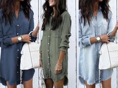 Hot style 2018 women's fashion multicolor denim shirt with cuff fringed hem Cambridge blue s
