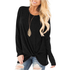 Spring 2019 new style women's chunky color round collar gold gram long sleeve T-shirt black 3xl