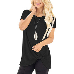 Spring 2019 women's chunky round collar gold gram short-sleeved T-shirt black 3xl