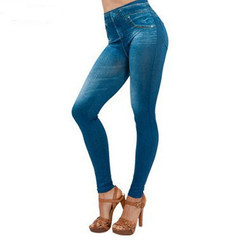 Spring break 2019 pocket style denim leggings stretch slim seamless stretch leggings blue 5xl