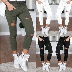 Naiveroo tights sexy woman hole knee pencil pants pants lady waist top top tights ripped jeans army green 4xl