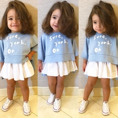 INS Explosion Children's Wear New Girls Round Neck Long Sleeve T-Shirt Skirt Set picture picture 80cm