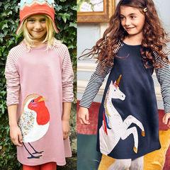 Ins explosion princess dress girls long skirt print dress children long sleeves dark blue red 100cm