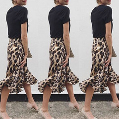Sexy woman skirt hot fashion woman leopard print high waist skirt apricot S