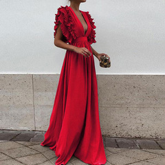 Spring/summer 2019 new women's sleeve-flying v-neck backless solid color maxi dress red XL