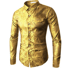 Long sleeve men's shirt red gold purple blue men's embroidered dress shirt fashion slim yellow M