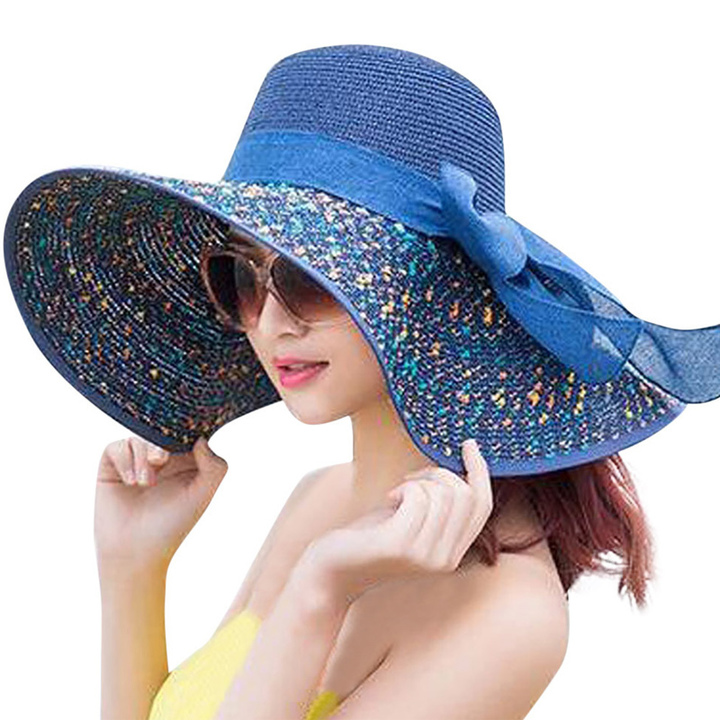 Sunshade hat lady summer sun folding outdoor uv - resistant beach hat in summer sapphire M56-58cm