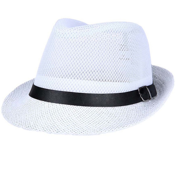 Hat man summer western cowboy mesh big eaves outdoor travel hat white M56-58cm