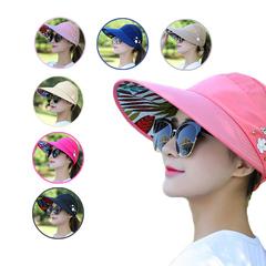 Folding sun protection cap cycling sun protection cap pearl flower cap sun protection beach cap navy The adjustable
