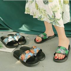 Female summer fashion tree leaves outside wearing beach shoes flat female slippers orange 36-37