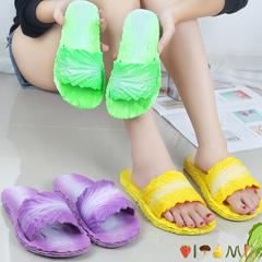 2019 new female leisure slippers slipper slip-proof cartoon creative cabbage one word slippers yellow 36