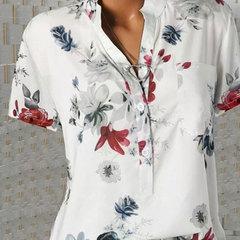 2019 new women's top fashion v-neck print short-sleeved blouse for women white s