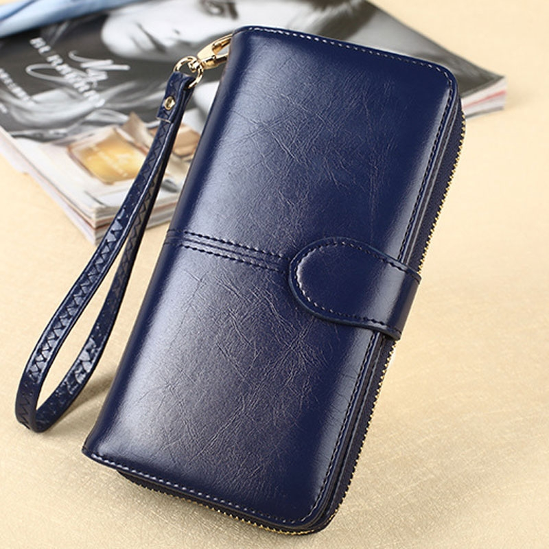 705d2ffa8cc Wallet female long section oil wax skin new hot-selling mobile phone bag  zipper bag card bag black all code