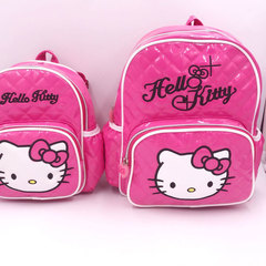 Girls super cute PU bright face backpack cute hello Kitty fashion leisure bag for children Mei red All code