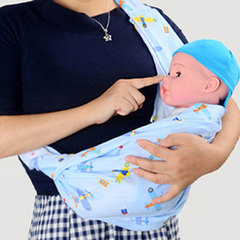 Baby strap baby sling baby strap easy cross hold front hold newborn bag blue All code