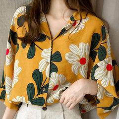 2019 summer dress new Hong Kong style printed shirt women's three-quarter sleeve shirt loose lining yellow M