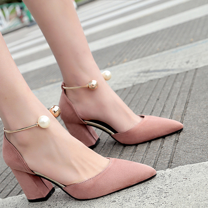 43f302e6423 The new single toe toe strap chunky sandals with pearl heels for slimmer  women pink 35