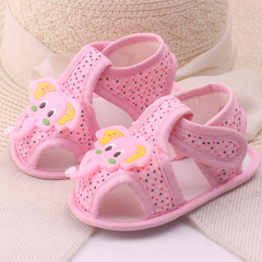 0-1 year old summer new cartoon elephant baby shoes cloth soft soles baby sandals baby shoes pink 11