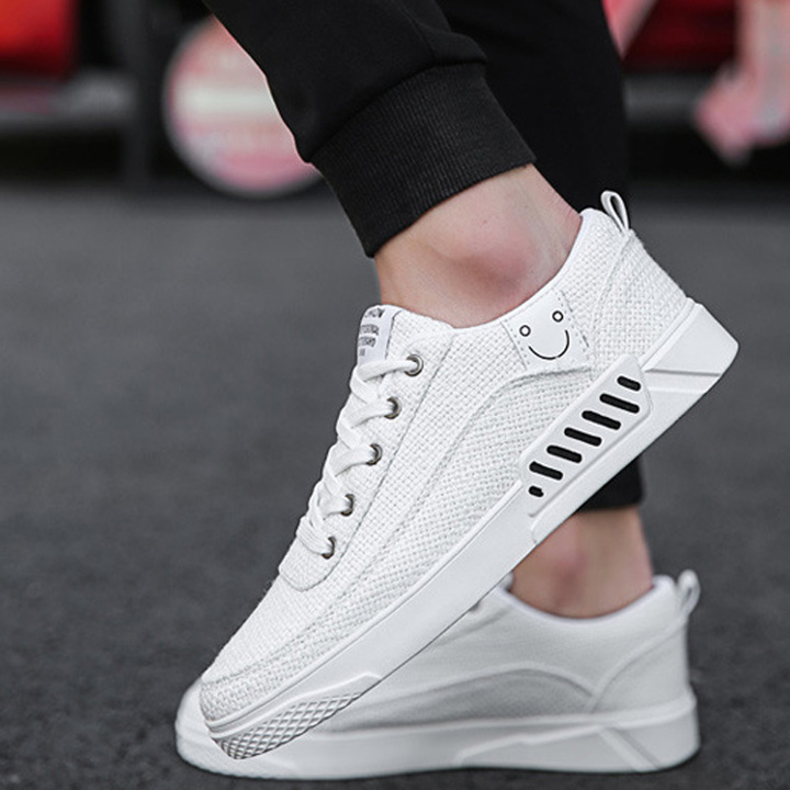 Summer tide man canvas recreational small white board shoe student breathable cloth shoe white 39