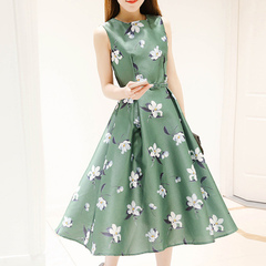Korean print medium length sleeveless dress with A slim a-line skirt green L