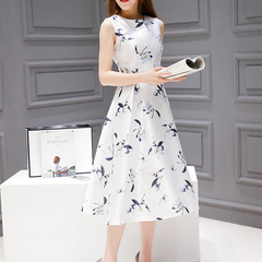 Korean print medium length sleeveless dress with A slim a-line skirt white L