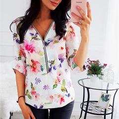 Slim zipper v-neck printed long-sleeved shirt for plus-size women's 2019 Bai Sedu Dan S