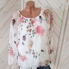 Sexy new summer European and American women's print chiffon with one collar white S