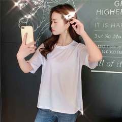 Xia han women's black preppy loose slim shiny long short sleeve T-shirt top white M