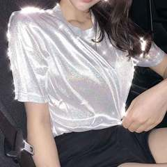 Summer Korean version of loose shiny reflective T-shirt women with short sleeves White, silver All code