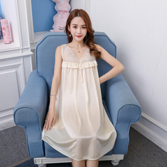 Summer ice cream nightdress feminine v-neck strap thin loose plus-size one-piece dress apricot All code