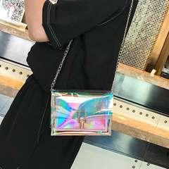 New fashion laser chain single shoulder bag multifunctional slant bag casual versatile silver 1 a