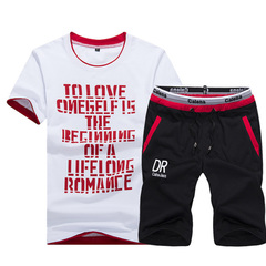 Summer short-sleeved T-shirt set men's shorts summer casual sport loose size five-minute pants red M