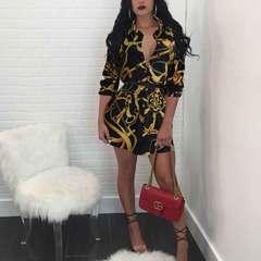 Summer womenswear classic vintage print shirt skirt no belt top Black chain S