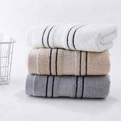 Couple towel pure cotton household simple stripe soft absorbent face towel bath towel face towel The stripes cream-colored 1