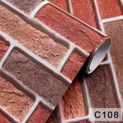 Self-adhesive reinforced vintage 3D brick wall paper for living room bedroom background C108 3 m