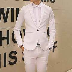 New fashion casual small suit men Korean version slim one-button suit men's jacket jacket white M