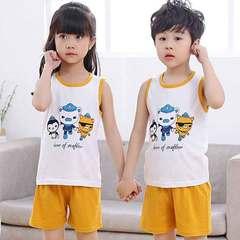 New children's sleeveless vest underwear set boys and girls cartoon cotton shorts two pieces Little orange columns 90cm