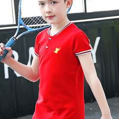 The new children's Polo shirt is pure cotton short-sleeved boys' leggings and children's t-shirts red 5Y_90cm