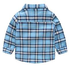 Boys' long-sleeved shirts Korean version of baby cotton tops In the color blue 90cm