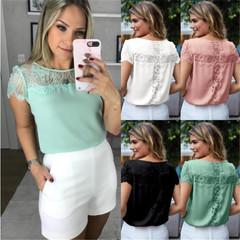 Large size 2019 women NEW Short sleeve chiffon shirt Lace splicing round collar Loose leisure shirt green s