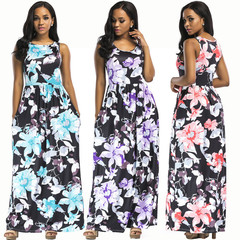 2019 Sleeveless Women dress flower printing fashion skirt multi-color round collar sexy Party Dress red s
