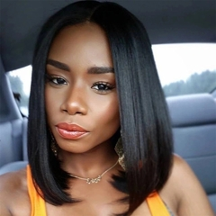 2019 new European and American ladies wigs short hair bobo head exotic style black straight hair black 35 cm