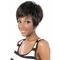 2019 new European and American wigs ladies short straight hair realistic natural oblique Liu Hai wig black 26 cm