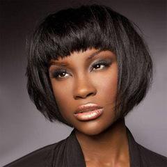 New ladies fashion realistic natural Qi Liu short straight hair natural black wig black 53 cm
