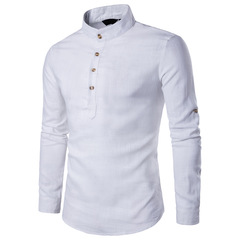 New casual fashion slim solid color long sleeve stand collar linen business shirt white s